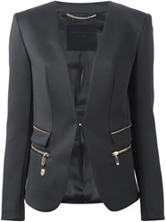 Philipp Plein Collarless Blazer Black