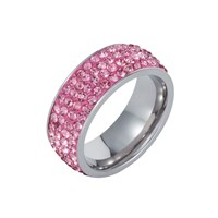 Aurora Flash Stainless Steel Cubic Zirconia Pink Ring