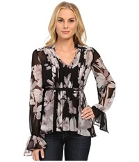 Adrianna Papell Boho Shirred Detail Chiffon Print Top Black Ivory Women's Clothing