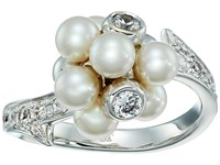 Majorica Holly Pearl Cz Cluster Ring Silver White Ring