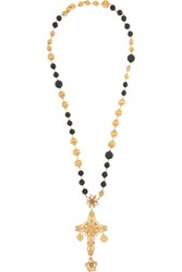 Dolce And Gabbana Gold Plated And Swarovski Crystal Necklace Black