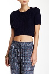 Cecico Cable Knit Short Sleeve Cropped Sweater Blue