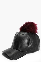 Boohoo Pu And Faux Fur Pom Baseball Cap Black