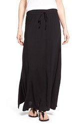 Women's Caslon Drawstring Waist Woven Maxi Skirt Black