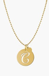 Women's Jane Basch Designs Personalized Script Initial Disc Pendant Necklace Gold C