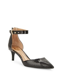 Vince Camuto Signature Brenda Embossed Leather D Orsay Pumps Black