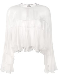 Philosophy Di Lorenzo Serafini Semi Sheer Pleated Blouse Nude And Neutrals