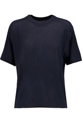 Joseph Button Embellished Merino Wool T Shirt Midnight Blue