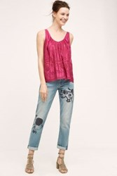 Anthropologie Pilcro Hyphen Embroidered Jeans Light Denim 24 Pants