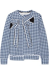 Marc Jacobs Bow Embellished Gingham Cotton Jersey Sweatshirt Blue
