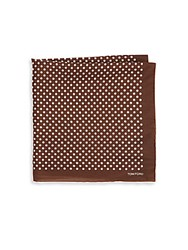 Tom Ford Dotted Italian Silk Pocket Square Brown