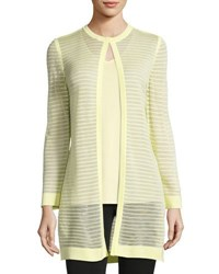Ming Wang Sheer Knit Long Jacket Suo