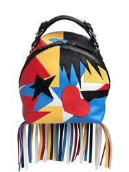 Msgm Star And Heart Patchwork Backpack