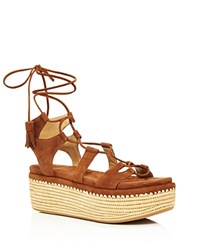 Stuart Weitzman Romanesque Lace Up Platform Sandals Saddle