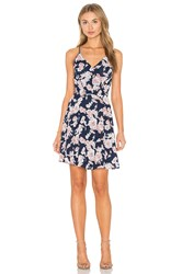 Greylin Serina Print Blocked Dress Navy