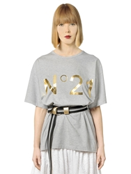 N 21 Metallic Logo Printed Cotton T Shirt Grey Gold