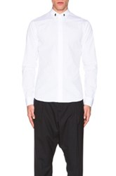 Givenchy Button Down Shirt With Silver Collar Stands In White