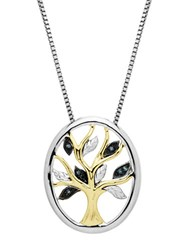 Lord And Taylor Sterling Silver 14Kt. Yellow Gold Green Diamond Pendant Necklace Gold Diamond Silver