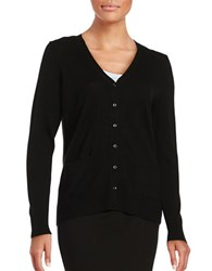 Lord And Taylor Petite Merino Wool Button Front Cardigan Black