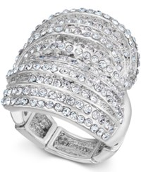 Inc International Concepts Rose Gold Tone Crystal Criss Cross Adjustable Ring Only At Macy's Silver