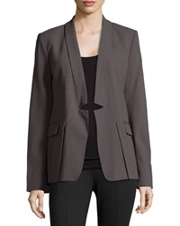 Halston Heritage Notched Lapel Wool Blend Blazer Lead