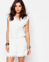 Noisy May Romper With Lace Trim White