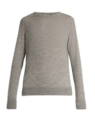 Vince Distressed Crew Neck Cashmere Sweater Grey