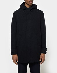 Harris Wharf London Boiled Wool Long Parka W Hood Dark Blue