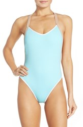 Women's L Space 'Maniac' Cross Back One Piece Swimsuit Lagoon Blue