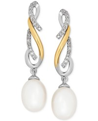 Macy's Cultured Freshwater Pearl 7Mm And Diamond 1 10 Ct. T.W. Drop Earrings In Sterling Silver And 14K Gold Two Tone