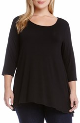 Plus Size Women's Karen Kane Three Quarter Sleeve A Line Tunic Black