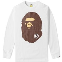 A Bathing Ape Long Sleeve Big Ape Head Tee White