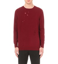 Yang Li Distressed Cashmere And Wool Jumper Dark Red