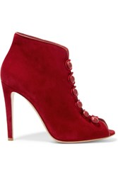 Gianvito Rossi Leather Trimmed Suede Ankle Boots Red