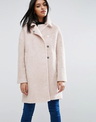 Asos Oversized Cocoon Coat With Funnel Neck In Wool Mix And Boucle Texture Pink