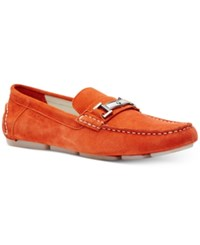 Calvin Klein Men's Magnus Suede Drivers Men's Shoes Red Orange
