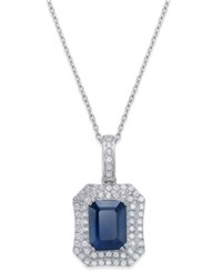 Macy's Blue Sapphire 2 Ct. T.W. And White Sapphire 1 Ct. T.W. Rectangular Pendant Necklace In 14K White Gold