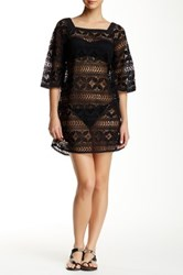 Gypsy05 Crocheted Lace Cover Up Dress Black