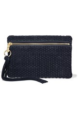 Elizabeth And James Scott Woven Suede Leather Clutch Navy