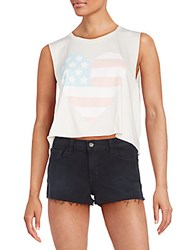 Wildfox Couture Sunbleached Flag Graphic Cropped Chad Tank Vintage Lace