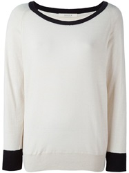 Sessun Contrasting Trim Sweater Nude And Neutrals