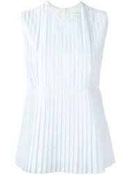 Victoria Beckham Denim Pleated Tank White