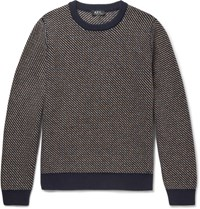 A.P.C. Diagonal Stripe Wool Blend Sweater Navy