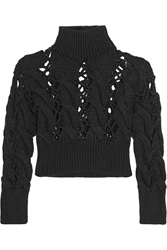 Mm6 Maison Margiela Cropped Cable Knit Wool Sweater