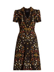 Alexander Mcqueen Obsession Print Button Down Crepe Dress Black Multi