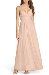 Wtoo Women's Deep V Neck Chiffon And Tulle Gown Latte