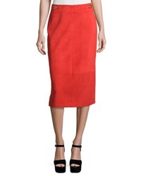Gabriela Hearst Suede Pencil Skirt Red