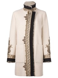 Etro Embroidered Pattern Sports Coat Nude And Neutrals