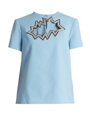 Christopher Kane Smash Motif Short Sleeved Wool Crepe Top Light Blue