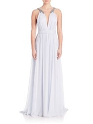 Marchesa Beaded Shoulder Gown Light Blue